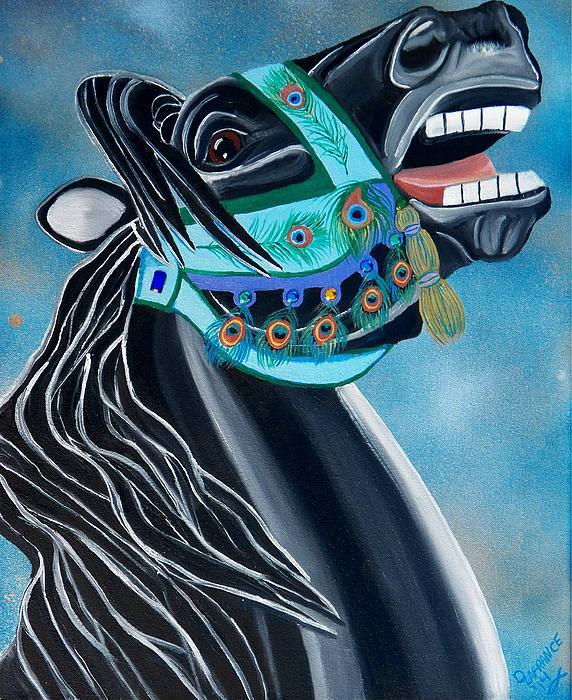 Peacock Carousel Horse Print by Debbie LaFrance