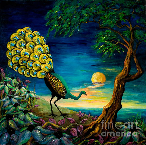 Peacock Strolls On The Beach Print by Larry Martin