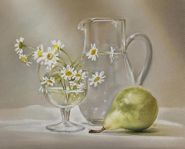 Pear And Daisies Print by Natasha Denger