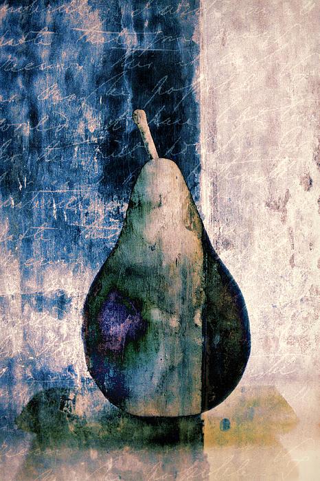 Pear In Blue Print by Carol Leigh