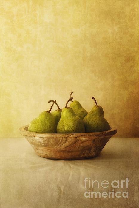 Pears In A Wooden Bowl Print by Priska Wettstein