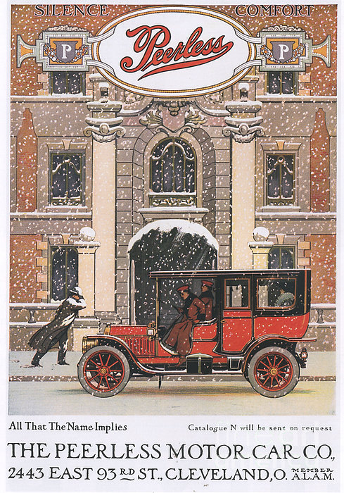 Peerless 1910s Usa Cars Winter Snow Print by The Advertising Archives
