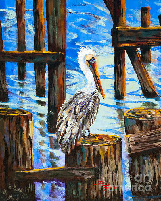 Pelican And Pilings Print by Dianne Parks