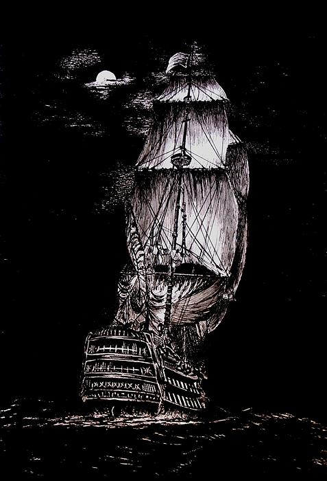 Mario  Perez - Pen and Ink Drawing of Ghost Boat in black and white