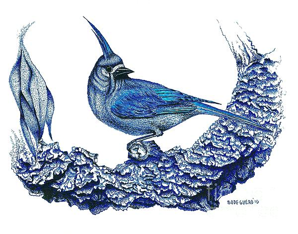 Pen And Ink Drawing Of Small Blue Bird  Print by Mario  Perez