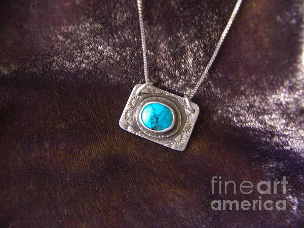 Pendant With Turquoise Print by Patricia  Tierney