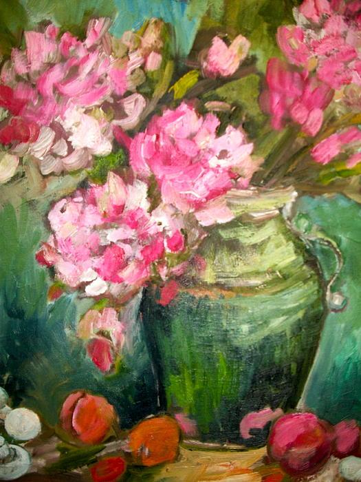 Peonies And Peaches Print by Carol Mangano