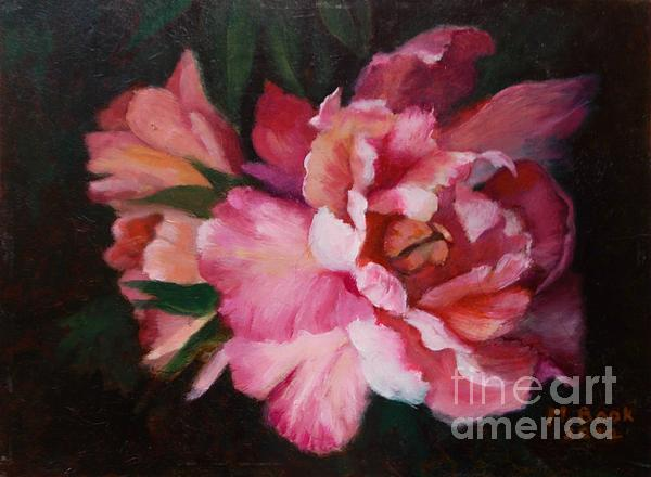 Peonies No 8 The Painting Print by Marlene Book