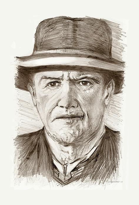 People Of Old West A Pencil Drawing In Black And White  Print by Mario  Perez