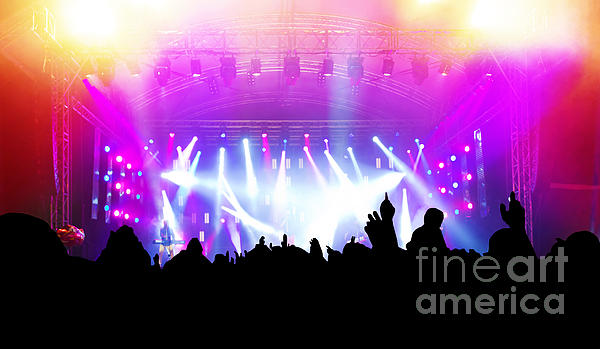 People On Music Concert Disco Party Print by Michal Bednarek