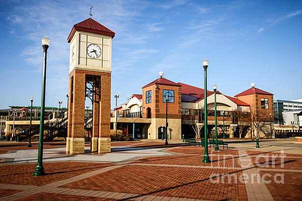 Peoria Illinois Riverfront Businesses And Clock Tower Print by Paul Velgos