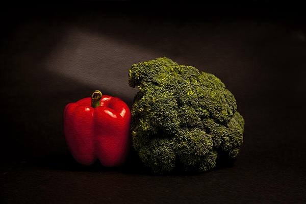Pepper Nd Brocoli Print by Peter Tellone