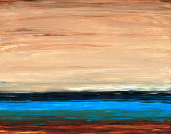 Perfect Calm - Abstract Earth Tone Landscape Blue Print by Sharon Cummings