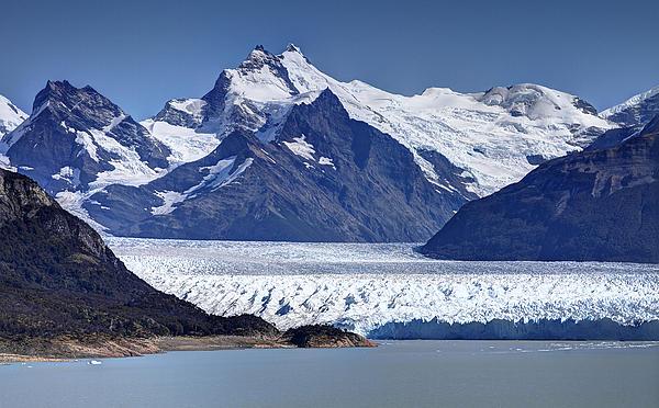 Perito Moreno Glacier - Snow Top Mountains Print by Kim Andelkovic