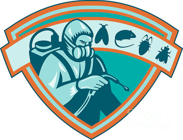 Pest Control Exterminator Worker Shield Print by Aloysius Patrimonio