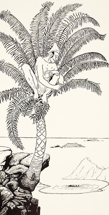 Pestonjee Bomonjee Sitting In His Palm-tree And Watching The Rhinoceros Strorks Bathing Print by Joseph Rudyard Kipling