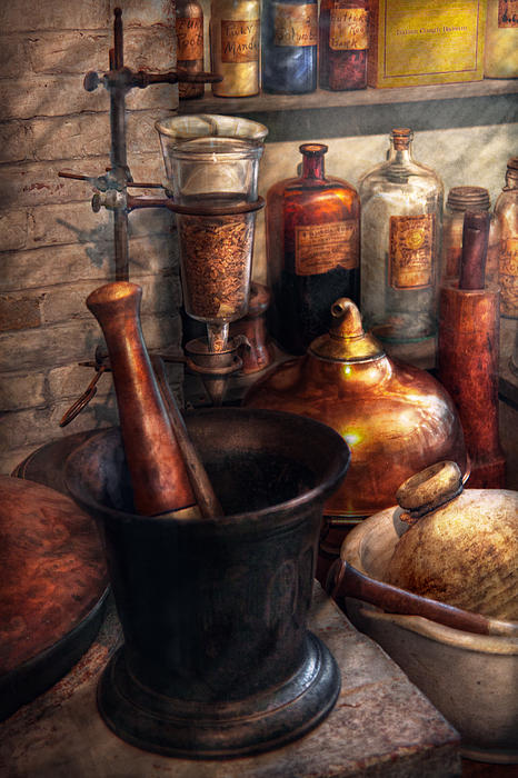 Pharmacy - Pestle - Pharmacology Print by Mike Savad