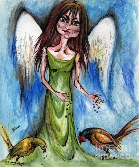Pheasant Angel Print by Angel  Tarantella