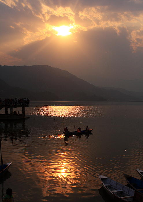 Phewa Lake Sunset - Nepal  Print by Aidan Moran