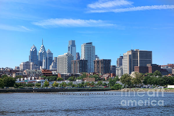 Philadelphia Living Print by Olivier Le Queinec