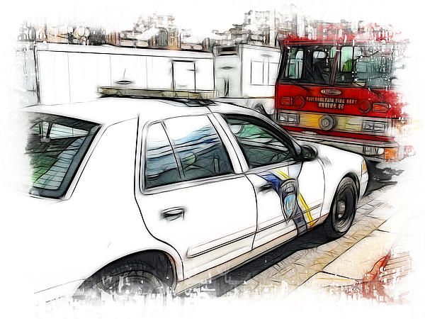 Philadelphia Police Car Print by Paul and Fe Photography Messenger