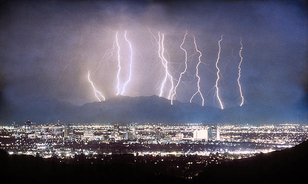 Phoenix Arizona City Lightning And Lights Print by James BO  Insogna
