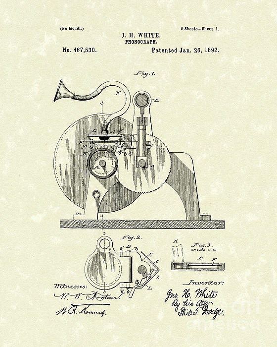 Phonograph 1892 Patent Art Print by Prior Art Design