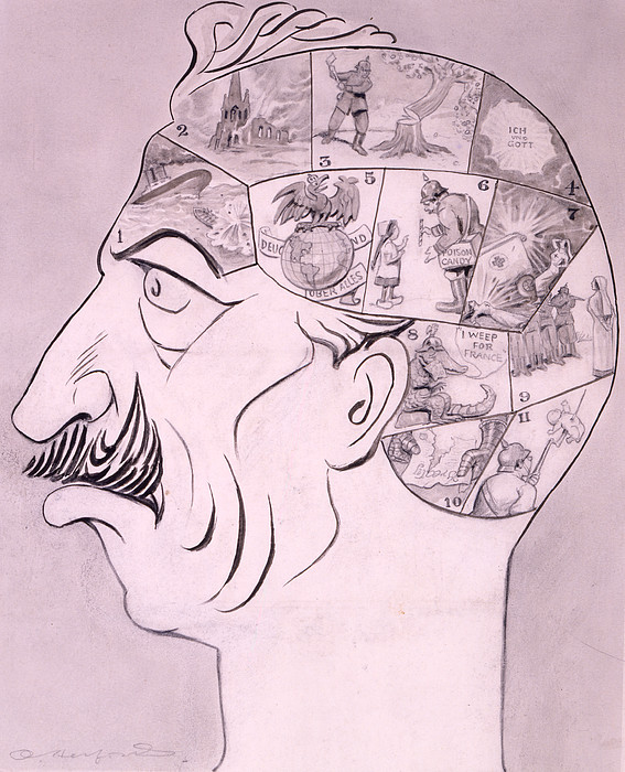Phrenological Chart Of The German Print by Oliver Herford