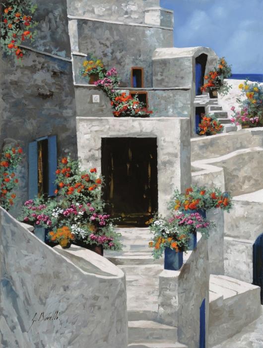 piccole case bianche di Grecia Print by Guido Borelli