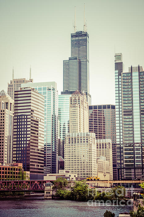Picture Of Vintage Chicago With Sears Willis Tower Print by Paul Velgos