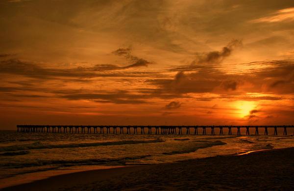 Sandy Keeton - Pier at Sunset