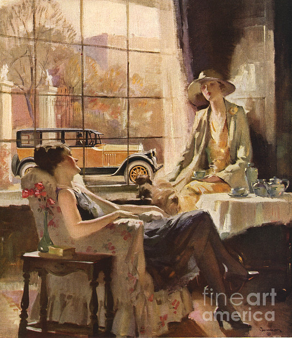 Pierce-arrow 1920s Usa Cc Drinking Tea Print by The Advertising Archives