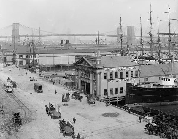 Piers Along South Street 1900 Print by Stefan Kuhn
