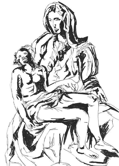 Pieta Print by Hatin Josee