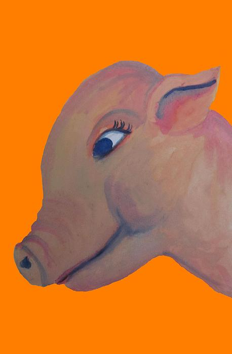 Pig On Orange Print by Cherie Sexsmith