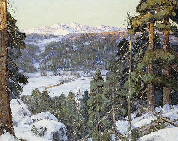 Pines In Winter Print by George Gardner Symons