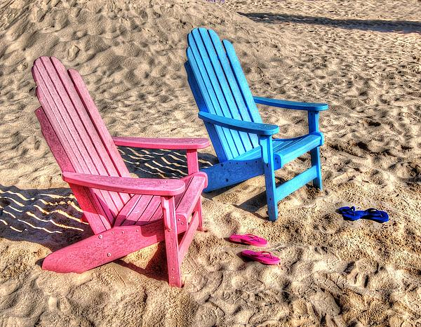 Pink And Blue Beach Chairs With Matching Flip Flops Print by Michael Thomas