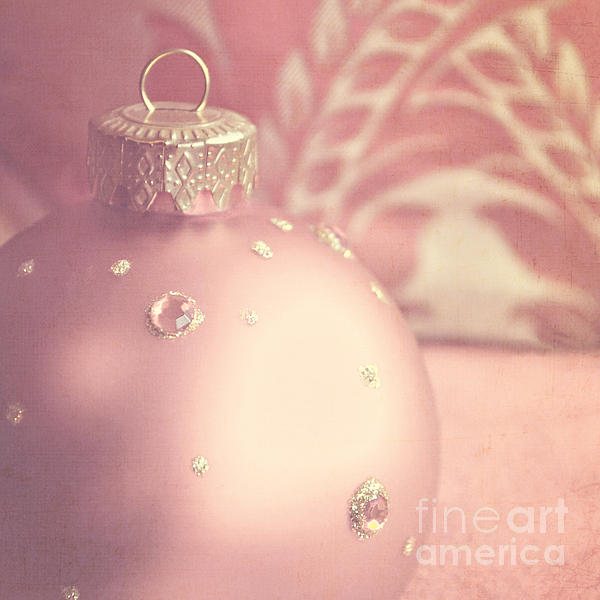 Pink And Gold Ornate Christmas Bauble Print by Lyn Randle