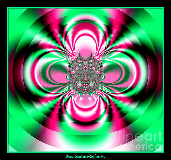 Pink And Green Rotating Flower Fractal 74 Print by Rose Santuci-Sofranko