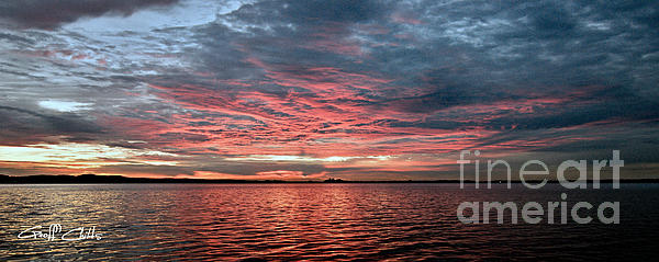 Pink And Grey At Sea - Sunrise Panorama Print by Geoff Childs
