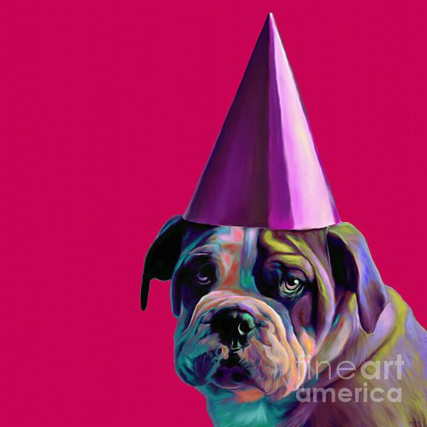 Pink Birthday Pup Print by Jennifer Gibson