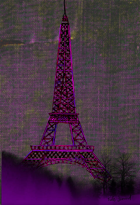 Pink Eiffel Tower Print by Kate Farrant