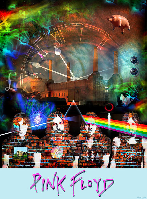 Pink Floyd Collage Print By Mal Bray