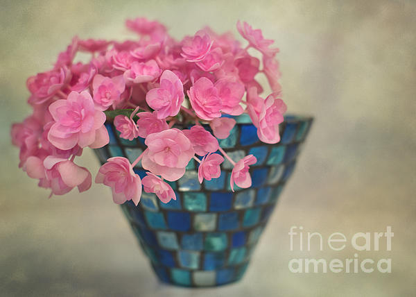 Pink Hydrangea's In A Vase Print by Carolyn Rauh