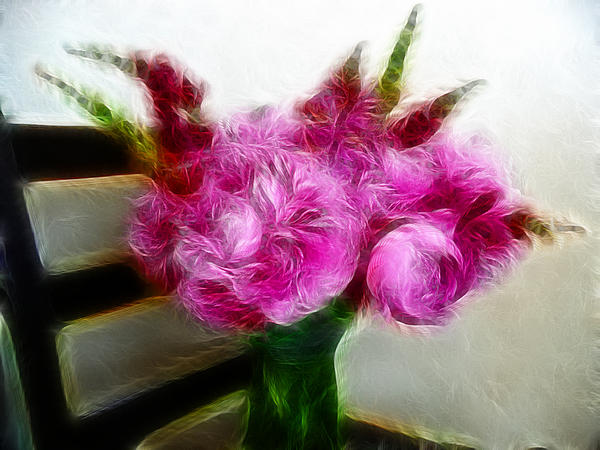 Pink Peonies And Snapdragons In Vase Print by Cindy Wright