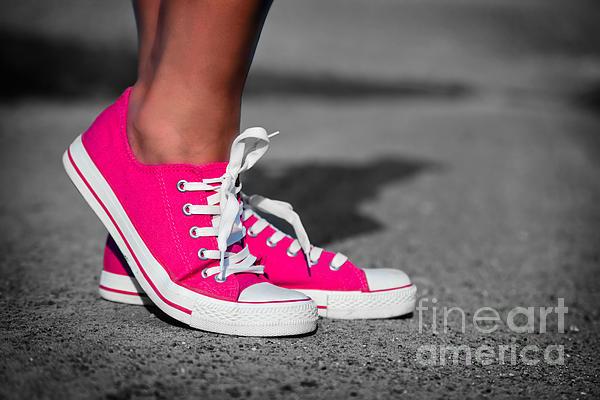 Pink Sneakers Print by Michal Bednarek