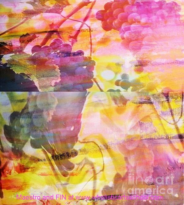 Pink Vineyard Plumps Print by PainterArtist FIN