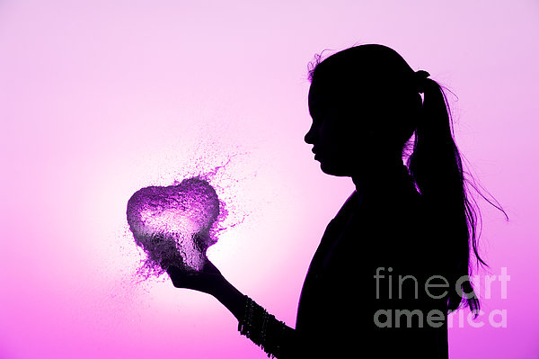 Pink Water Heart Print by Tim Gainey