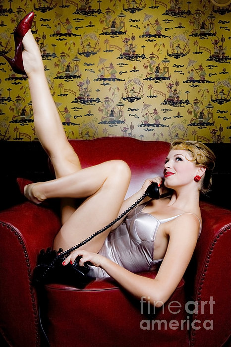 Pinup Girl With Phone Print by Diane Diederich