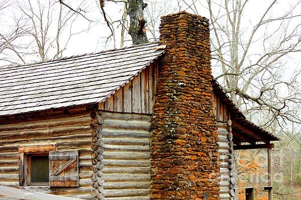 Pioneer Log Cabin Chimney Print by Kathy  White